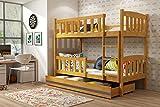 Interbeds Jacob de los niños litera cama, madera maciza de camas para niños + libre matrresses + almacenamiento 190x 80, 190x 90, 200x 90, Alder - Graphite, 200x90