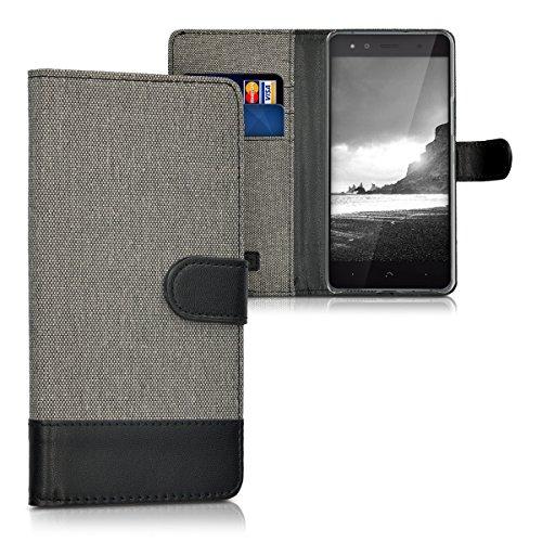 kwmobile Hülle kompatibel mit bq Aquaris X5 - Kunstleder Wallet Hülle mit Kartenfächern Stand in Grau Schwarz