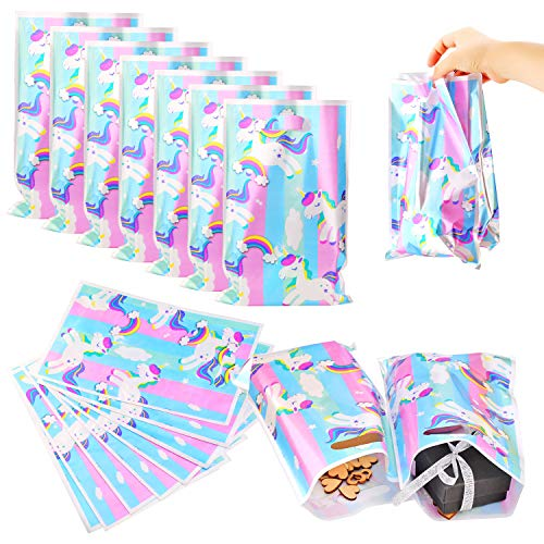 WXJ13 40 Pack Unicorn Gift Bags Party Favor Treat Bags for Birthday, Baby Shower, Parties, Events