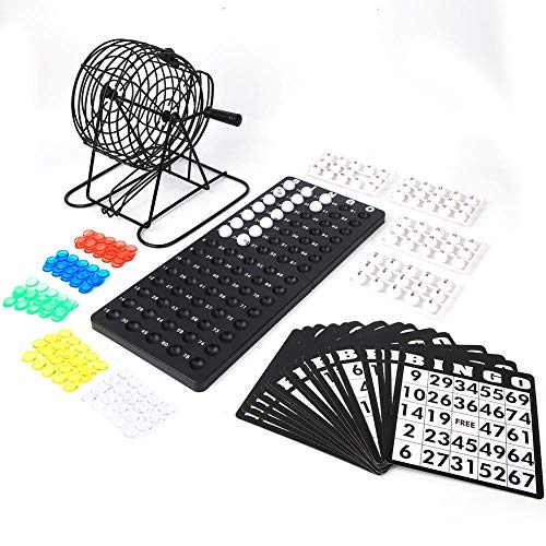 T best Bingo Game, Traditional Bingo Supplies Jumbo Bingo Game Wine Set Lucky Ball Bar Party Lottery Bingo Machine Board Game for Kids Parents Children Group Entertainment