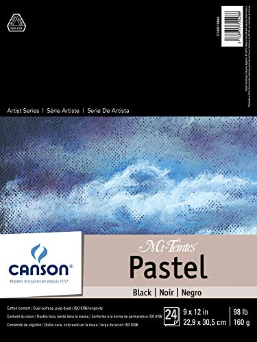 "Canson Drawing Mi-Teintes Paper Pad, Dual Sided Textures for Pastels, Charcoals, Pencil, Fold Over, 98 Pound, 9 x 12 Inch, Black, 24 Sheets, 9""X12"""