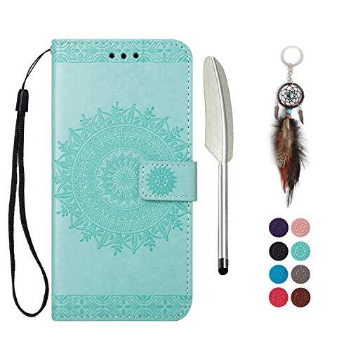 LA-Otter Funda de piel con tapa para iPhone 5 y 5S SE, color verde y protector de goma de silicona a prueba de golpes