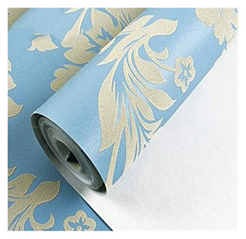 WHYBH HYCSP Moderne Metallic Damast Vinyltapete Wand-Papier Schlafzimmer Wohnzimmer Tapete Rolle Beige, CreamRed, Brown (Color : 33798, Size : 9.5mx0.53m)