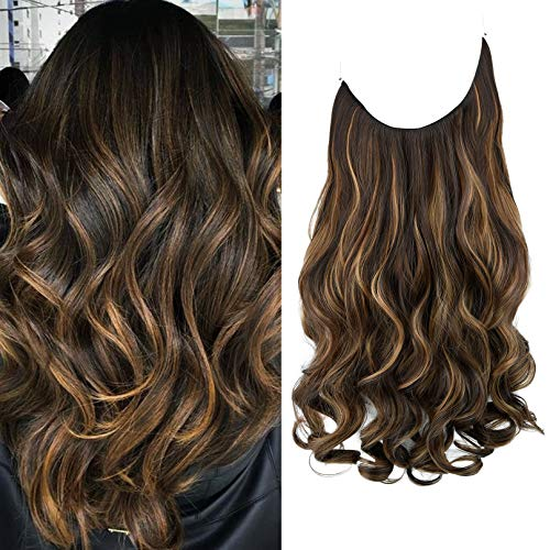 REECHO Halo Hair Extensions with Invisible Transparent Wire Adjustable Size Removable Secure Clips in Curly Wavy Hidden Crown Hairpiece for Women 20 Inch -Dark Chocolate Brown with Golden blonde mixed