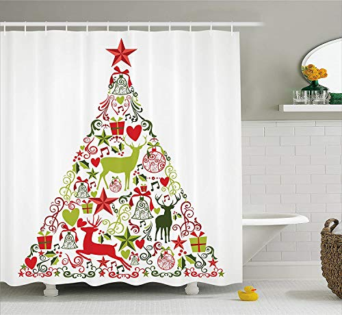Christmas Decorations Collection Merry Christmas Themed House Decor Popular New Year Ornaments and Star Tree Topper Polyester Fabric Bathroom Shower Curtain with Hooks 183 * 183CM