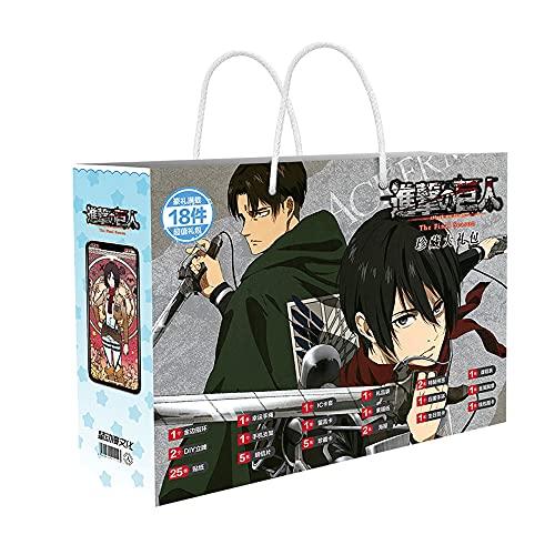 DAYINGTAO Attack On Titan Series/Caja de Regalo de Anime/periféricos de Anime/con Insignia de Metal, Tarjeta de colección, Correa de Mano, Pulsera, Pegatinas, etc./Regalos de cumpleaños Adecuado