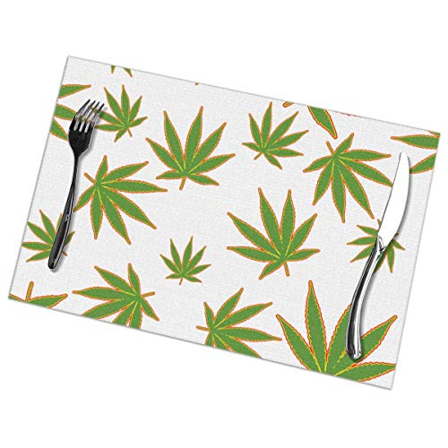 Aeykis Rasta Weeds Placemats for Dining Table Set of 6 Kitchen Table Mats