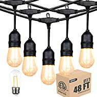 ETL Listed Outdoor Linkable 48ft led Heavy-Duty String Light with 15+1(Spare) 2W Energy-Saving PC Shatterproof Bulbs 2300K Warmwhite for Patio Garden Backyard Porch