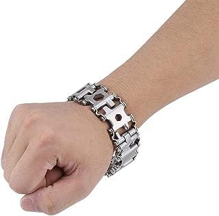 Multifunctional Stainless Steel Bracelet, 29 in 1 Tool Bracelet Multifunctional Stainless Steel Outdoor Tool Bracelet Portable Punk Bracelet Bracelet for Men(White)