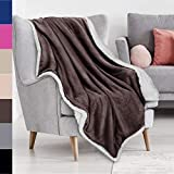 Brown Sherpa Throw Plush Blanket Size 50' x 60' Bedding Fleece Reversible Blanket for Bed and Couch, Super Soft Comfy Warm Fuzzy TV Blanket