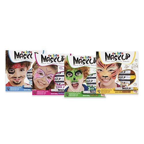 Carioca Set Mask Up | Set Pinturas de Cara en Barra a Base de Agua, Colores Surtidos, Tutorial con 8 Maquillajes Incluído, 12 Uds