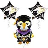 Large Penguin Graduation Grad for 2021 Graduation Decorations - 2 Star Grad Balloons 2021 with Congrats Grad You Did it Balloon   Graduation Party Supplies 2021  Graduation Balloons for School,College