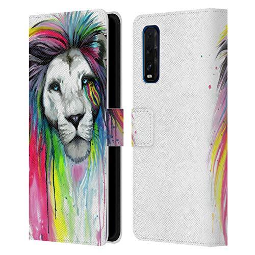 Head Case Designs Licenciado Oficialmente Pixie Cold Rainbow Melena Gatos Carcasa de Cuero Tipo Libro Compatible con OPPO Find X2 5G