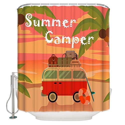 AIDEMEI Summer Dusk Tropical Bus Badezimmer Duschvorhang Home Decoration Badezimmerzubehör Duschvorhang 180X180Cm