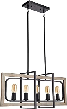 TZOE Rectangle Dinning Room Chandeliers,Rustic Pendant Lighting for Kitchen Island, White Oak Wood Color Metal&Black Finish V