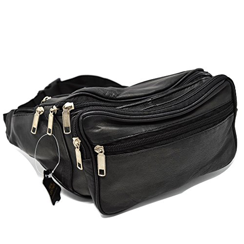 Real Leather waist bag bum bag travel pouch pack 5 zips