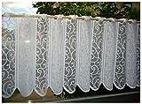 heimtexland ® Scheibengardine Ranke Weiß Höhe HxB 52x150 Panneau Gardine Romantic Chic Ökotex Typ265