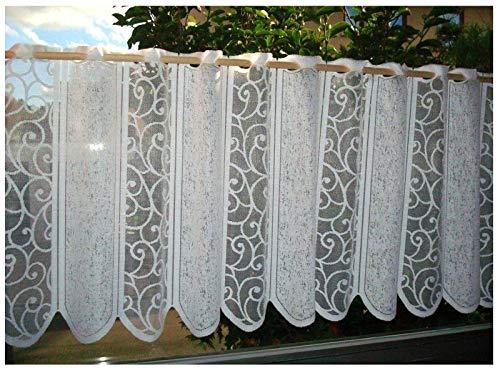 heimtexland ® Typ265 Rideau brise-bise en jacquard blanc , Tissu, Blanc., HxB 52x150 cm