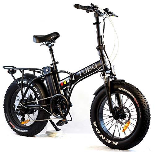 Tubo Fat, Bici Elettrica Pieghevole, Ruote Fat Bike 20x4 Pollici, Motore 250W, Batteria 48V 10AH