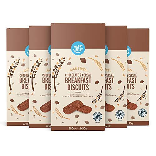 Marca Amazon - Happy Belly Galletas de desayuno con chocolate y cereales, Paquete de 5 x 300g