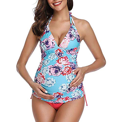 IVYSHION Womens Badpakken voor Zwangere Vrouw Zon Badkleding Zwemkleding Zwangerschap Kostuum Strandkleding Bloemen Gedrukt Ultra Zachte Zijde Voel Strand Badpakken voor Zwangere