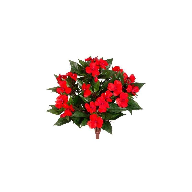 "silk flower arrangements 13.5"" silk new guinea impatiens flower bush -tomato red (case of 6)"