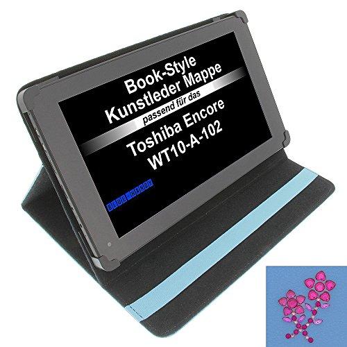 foto-kontor Tasche Strass Blume für Toshiba Encore WT10-A-102 Excite AT10-A-104 Book Style Schutz Hülle Buch blau