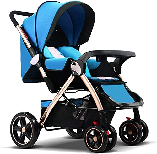 LOXZJYG Anti Shock Baby Stroller,Foldable Pram Carriage with 5-Point Harness, Convenience Stroller, Lightweight Stroller with Aluminum Frame, Extra Large Storage Basket–Infant Stroller for Travel and
