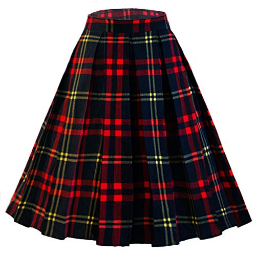 DresseverBrand Damen Rockabilly Rock A Linie Retro Rock Midi Swing Röcke Plaid (red and Navy) Large