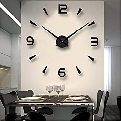 Large DIY Frameless Wall Clock 3D Wall Clock with Mirror Number Stickers for Home Office Decorations Gift