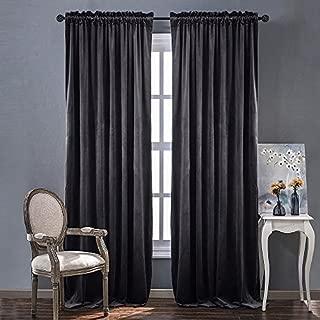 NICETOWN Living Room Velvet Curtains - Sound Reducing Heavy Matt Solid Rod Pocket Room Darkening Drapes/Panels (2 Panel Per Pack, 84 inches Long, Grey)