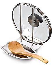 Denshine Soporte de Tapas y Cucharas Organizador para Cocina de Acero Inoxidable Sartenes Resto de Tapas Utensilios para Cocina
