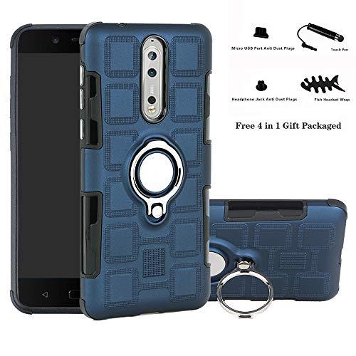 Labanema Nokia 8 Funda, 360 Rotating Ring Grip Stand Holder Capa TPU + PC Shockproof Anti-rasguños teléfono Caso protección Cáscara Cover para Nokia 8 (con 4 en 1 Regalo empaquetado) - Azul Marino