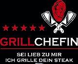 Veri Grillen Grill Mitbringsel GRILLCHEFIN SEI LIEB ZU Mir ICH Grille Dein Steak Geschenke Idee für Frauen Kochschürze Latzschürze lustig mit Spruch Bedruckt Hobbyköchin Mutter Grillzubehör : - 2