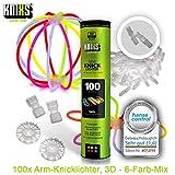 KNIXS - 100 Knicklichter, seit 10 Jahren in Profiqualität | 100 3D-Verbinder | 2 extra Ballverbinder, 6 Farben Mix | deutsche Testnote: 1,4