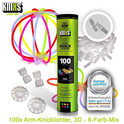 100 Knicklichter KNIXS für Armbänder inkl. 100 x 3D-Verbinder, 2 x Ballverbinder, 2 x 7 Lochverbinder im 6-Farb-Mix in Profiqualität