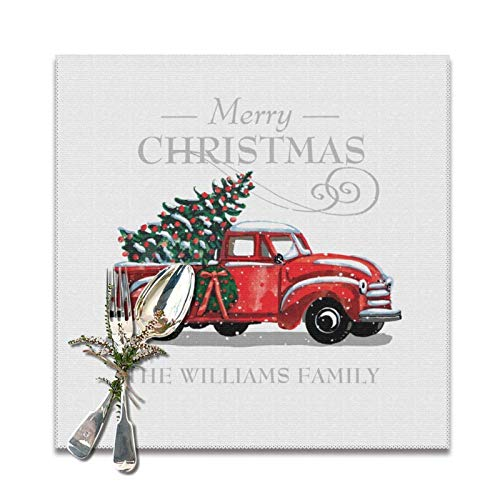 Lou Chapman Christmas Red Vintage Truck Placemats for Dining Table Set of 6 Decorations Washable Xmas New Year Kitchen Holiday Table Placemat,12 x 12 inches