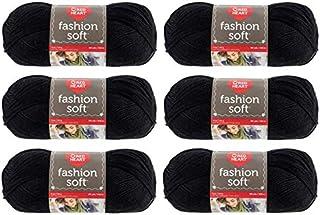 Red Heart (Coats) Yarn - Fashion Soft - 6 Pack (Black)