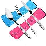 Flying_we 6 pcs juegos de cubiertos cuchillos, tenedores, cucharas, paquete de 2 vajillas de acero inoxidable ligero vajilla con maletín caminando camping picnic trabajando caminando inicio.