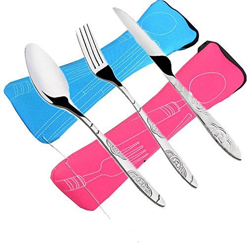 6 PCS Besteck Messer, Gabeln, Löffel, FLYING 2 Pack Lightweight Edelstahl Geschirr Geschirr mit Tragetasche Perfekt für Reisen Camping Picnic Working Wandern Home.