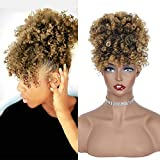 Lativ Drawstring Afro Puff with Bangs Light Blonde Afro High Puff Bun with Spring Curl Bangs and Afro Puff Bangs Hair Pieces Pineapple Updo Hair(T27)