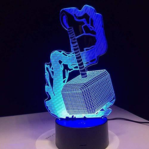 Avengers Alliance New Thor Hammer 3D LED Nachtlampe Film Anime Figur Nachtlicht Kreative Kinderzimmer Nachttischlampe