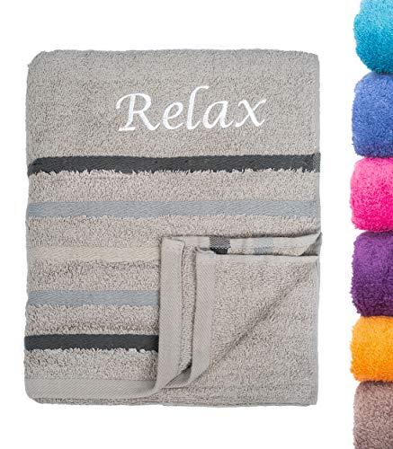 Strandtuch Saunatuch Badetuch 80x200 cm 100% Baumwolle in Verschiedene Designs, Silber Relax