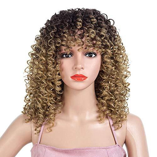 Peluca de pelo largo y rizado para mujer, color degradado, pequea peluca de pelo rizado, 18,5 pulgadas