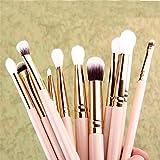 GONGFF 12Pcs Pro Makeup Brushes Set Foundation Powder Eyeshadow Eyeliner Lip Brush Tools Highlighter Makeup Brushes Pincel Maquiagem Pink