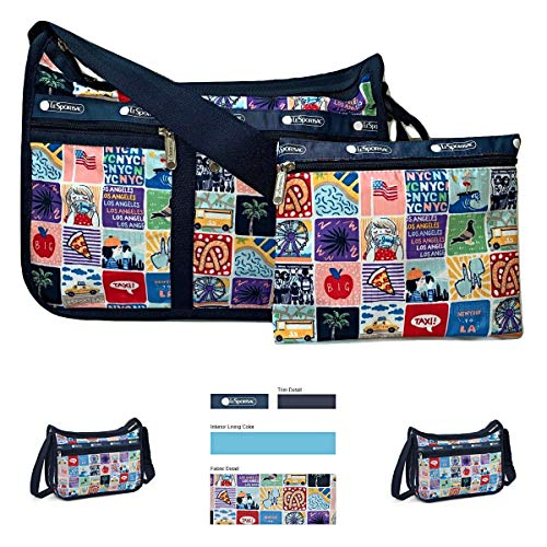 LeSportsac NY to LA Deluxe Everyday Crossbody Bag + Cosmetic Bag, Style 7507/Color K602 (New York to Los Angeles, Exclusive)