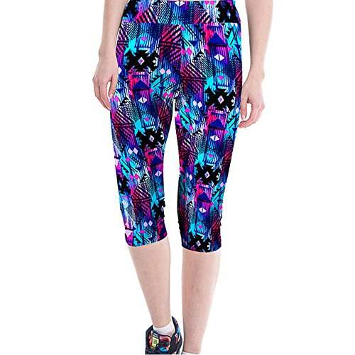 Vovotrade dameslegging met geometrie bedrukt 3/4 workout leggings fitness sport gym joggen yoga sportbroek