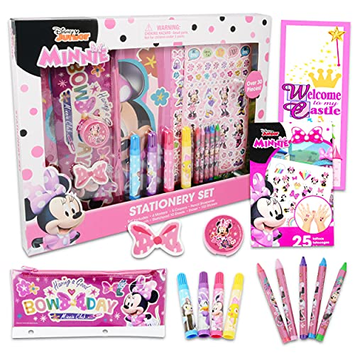 Minnie Mouse Arts and Crafts Bundle ~ 10+ Pc Minnie Stationery Set with 175+ Minnie Mouse Stickers and Tattoos   Minnie Mouse School Supplies and Minnie Art Set