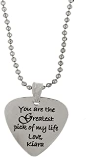 (TM Custom Engraved Personalized Stainless Steel Guitar Pick Necklace