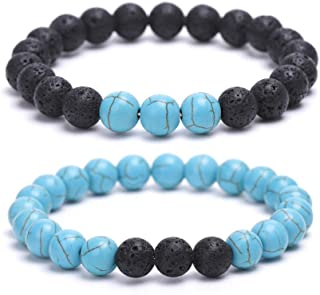 REBUY® Natural Turquoise Lava Stone Distance Bracelet Jewelry for Men & Women